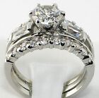 Stainless Steel Wedding Engagement Round CZ Baguette 4PC His  Hers Ring Band Set