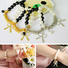 Hot Vintage Fashion Bowknot White Pearl Bow Charm Bracelet Bangle Women Gift E