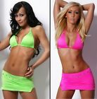Gogo wear Rock Mini Sexy outfit set table dance neon pink grün party röcke rave