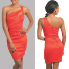Embroidered one shoulder above knee mini formal pleated bodice red dress S, M,L