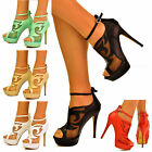 NEW Ladies Womens Cut Out Peep Toe Ankle Strap High Heel Sandal Shoe Bootie Size