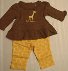 GYMBOREE Baby Giraffe Girls 0-3 Month Pant Long Sleeve Shirt Outfit NWT