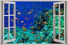 Huge 3D Window Fantasy Fish Under Sea View Wall Stickers Film Mural Art Decal