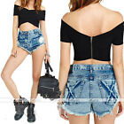 Women Off Shoulder Chest Cross Backless Short Mini Tops Tee T Shirt Crops Blouse