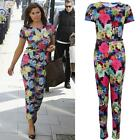 Ladies Celeb Jessica Floral Print All in One Belted Playsuit Women's Jumpsuit