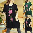 BLACK/GREEN FLOWER CARDIGAN DRESS/TUNIC TOP 1919 SIZE M/L/XL