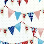 Great Britain Floral Flags 100% Cotton Half Panama Fabric