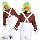 ADULTS FUNNY FACTORY WORKER WITH WIG FANCY DRESS COSTUME UMPA LUMPA FACE PAINT