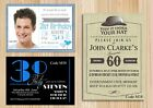 Men's Personalised Birthday Party Invitations Any Age + With Free Envelopes