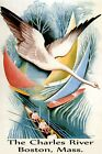Charles River Boston Sailing Rowing Boat Travel Vintage Poster Repro FREE S/H