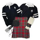 Kilt Outfit 'Sports Premium' - 2-Stripe Rugby Top - Stewart Royal