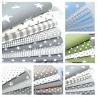FQ BUNDLE - STARS CLASSICS - GREY BEIGE GREEN star 100% COTTON FABRIC