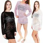New Ladies Womens Long Sleeve Crochet Knit Knitted Jumper Dress Top Size S M L 8