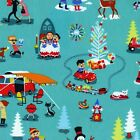 MID CENTURY CHRISTMAS - TURQUOISE - MICHAEL MILLER COTTON FABRIC snowmen tree