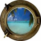 Huge 3D Porthole Exotic Beach View Wall Stickers Film Mural Art Decal Wallpaper