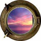 Huge 3D Porthole Purple Night Sky View Wall Stickers Mural Art Decal Wallpaper