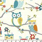 PERCHED LARGE OWLS - CHARCOAL - ADORNIT 100% COTTON FABRIC stunning design
