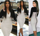 New Women Long Sleeve V Neck Splicing Mid Bodycon Party Cocktail Pencil Dress