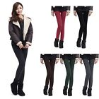 Hot Women Warm Golden Bright Silk Faux Cashmere Thickened Leggings Tight Pants
