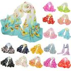 Women Ladies Chiffon Bohemia Colorful Butterfly Printed Scarf Wrap Shawl Stole