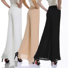 New Women's Chiffon Long Pants Flare Trousers Split Wide Leg dress Skirts pants