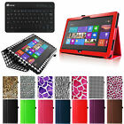 "Folio Leather Case Cover + Keyboard for Microsoft Surface 2 / RT 10.6"" Tablet"