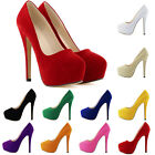 FAUX Suede HIGH HEEL CONCEALED PLATFORM POINTED CLASSIC  SHOES PUMP SIZE 4-11
