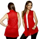 SML Red Simple Basic Comfy Cover-up VEST Jacket Open Front Cardigan Draped Shawl