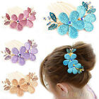 TRENDY FLOWER RHINESTONE BARRETTE HAIRPIN SHINY CRYSTAL HAIR CLIP HAIR COMB BF2K