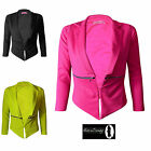 New Womens Cropped Zip Pocket Waterfall Blazer Ladies Jacket Coat UK Size 8-14