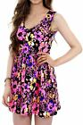 Women's V Neck Sleeveless Flare Skated Short Neon Floral Ladies Party Dress