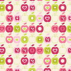 FLO APPLES KIWI / PINK - FLO'S GARDEN by MAKOWER 100% COTTON FABRIC PATCHWORK