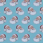 SANTAS BLUE - FATHER CHRISTMAS -  RETRO  by MAKOWER 100% COTTON FABRIC VINTAGE