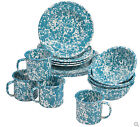 Crow Canyon Home Marbled Enamelware 16 Pc Starter Dinnerware Set Service for 4