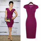 Womens Ladies Wiggle V-neck Bodycon Office Business Slim Party Dresses Size 8-16