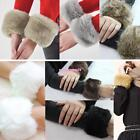 LADY FLUFFY HAND WRIST WARMER CUFFS BANDS COVERS WINTER FAUX FUR COAT WRISTBANDS