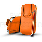 MAGNETIC BUTTON LEATHER PULL TAB CASE COVER POUCH & STYLUS FOR VARIOUS HANDSETS