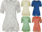 New Plus Womens Floral Lace Sequin Lined Ladies V Neck Short Sleeve Top 14-24