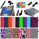 "For Samsung Galaxy Tab 4 10.1"" Tablet Premium Leather Case Smart Cover + Bundle"