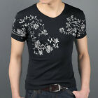 Summer New Floral Classic V Neck Tops Casual Short Sleeve Pullover Men's T-Shirt