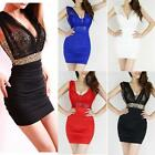 New Womens Mini Sexy Sequin V-neck Sleeveless Dress Clubwear Party Slim Dress