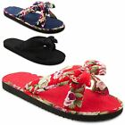 New Ladies Summer Floral Fabric Ribbon Bow Slip On Cotton Flip Flops UK Size 3-8