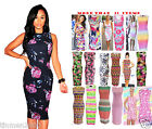 Womens Sam Faiers Midi Dress Sleeveless Summer Rainbow Bodycon Stretch Size:8-14