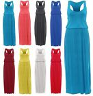 Ladies New Puffball Toga Racer Back Plain Sleeveless Elastic Balloon Maxi Dress