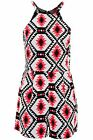 Women's Neon Pink Aztec Print Ladies Strappy Summer Party Playsuit All In One