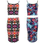 Women's Summer Two Piece Aztec Floral Print Casual Bodycon Skirt  Crop Top Set