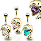 Gold Plated Crystal Heart Dolphin Drop Dangle Belly Bar - Choose Colour