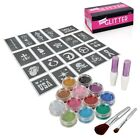 BMC Party Fun Temporary Fashionable Glitter Tattoo Body Art Design Stencils Kit