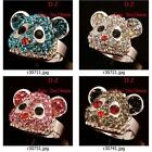r307m53 Brand New Gold Plate Bear Rhinestone CZ Gemstone Jewelry Adjustable Ring