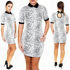 New Womens Ladies Peter Pan Collar Discharge Print Mini Bodycon Dress Size S M L